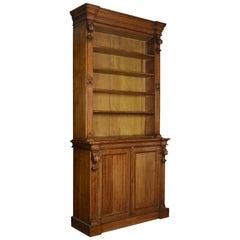 Very Large 19th Century Light Oak Bookcase
