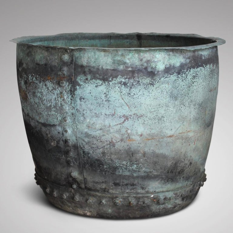 British Very Large 19th Century Naturally Verdigris Riveted Copper Planter or Log Bin For Sale