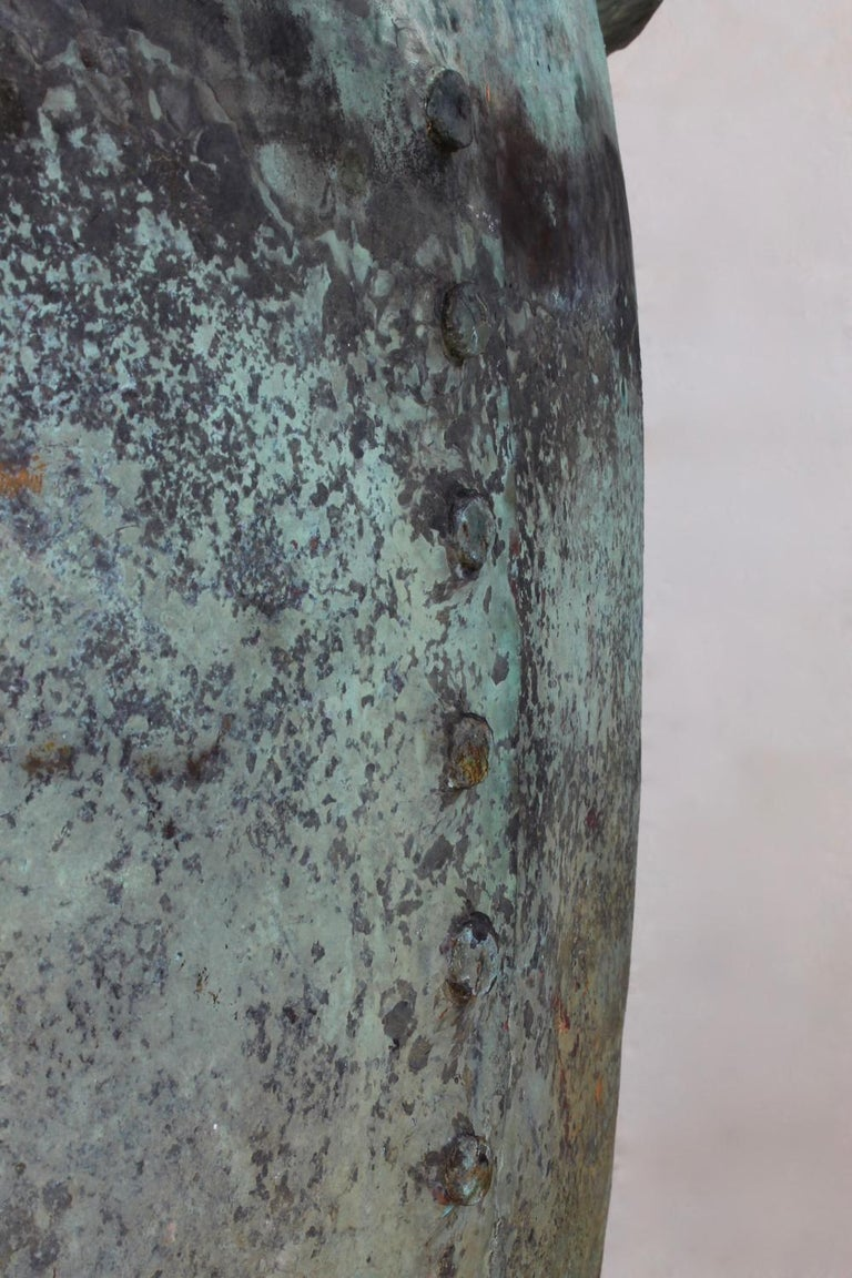 Very Large 19th Century Naturally Verdigris Riveted Copper Planter or Log Bin In Good Condition For Sale In Shustoke, GB