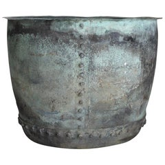 Very Large 19th Century Naturally Verdigris Riveted Copper Planter or Log Bin