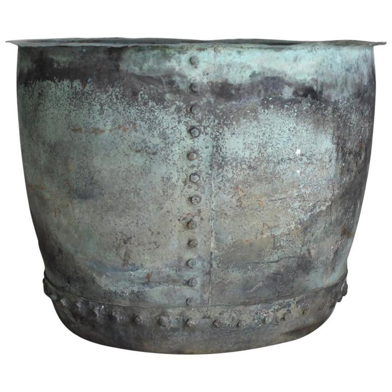 Very Large 19th Century Naturally Verdigris Riveted Copper Planter or Log Bin For Sale