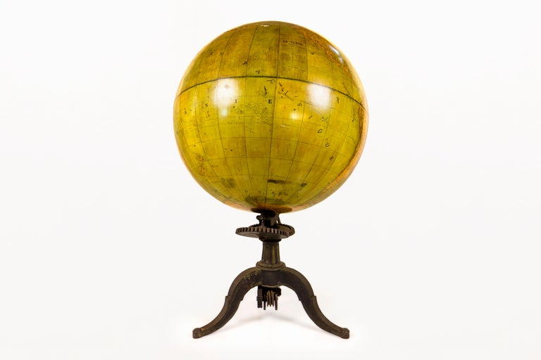 Huge 19th century globe, Terrestrial globe Original working cast iron stand Stand allows globe to turn and pivot Made by Barbot, Paris, France circa 1880, France Very good vintage condition. Exceptional and rare piece Museum quality.