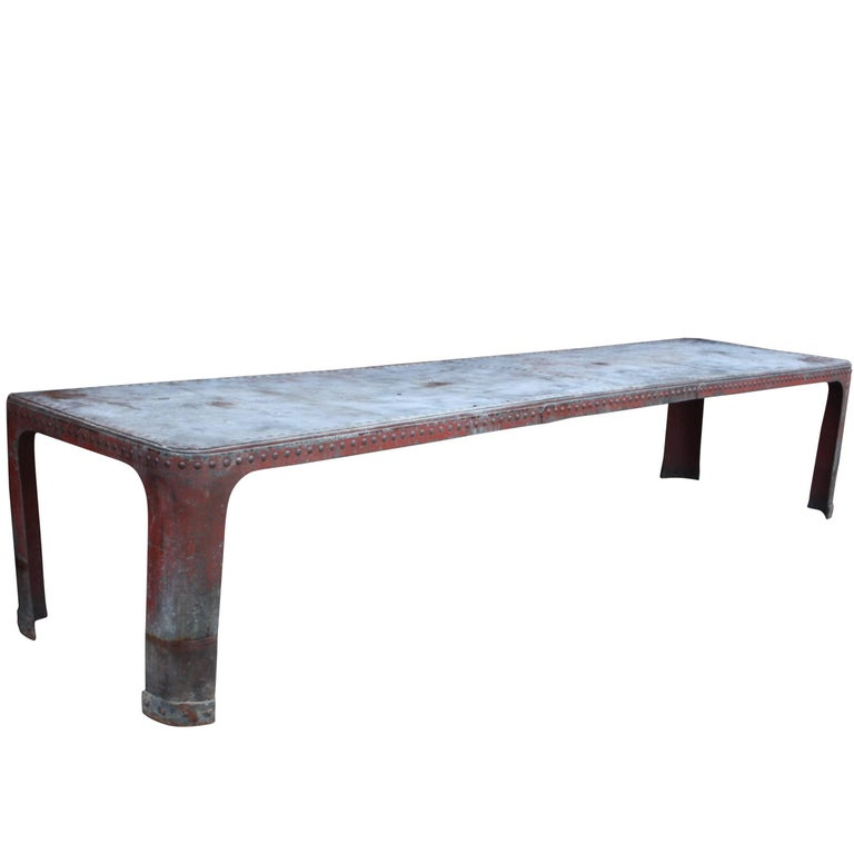 Very Large 20th Century Steel Tank Table Ex Jamie Oliver