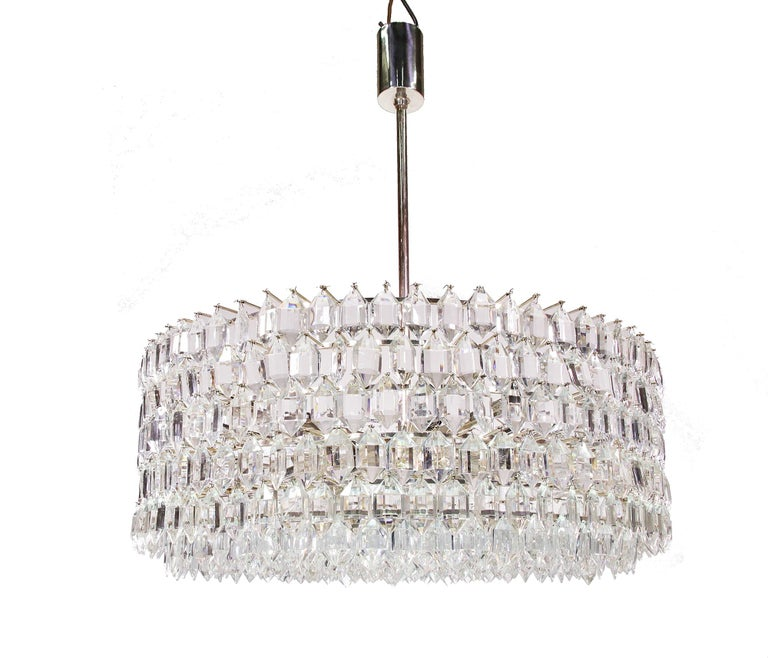 1950s Vienna Bakalowits & Sons Chandelier Crystal on Silver For Sale 3