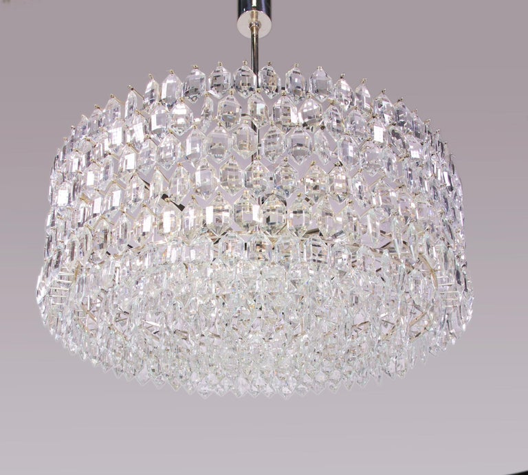1950s Vienna Bakalowits & Sons Chandelier Crystal on Silver For Sale 5