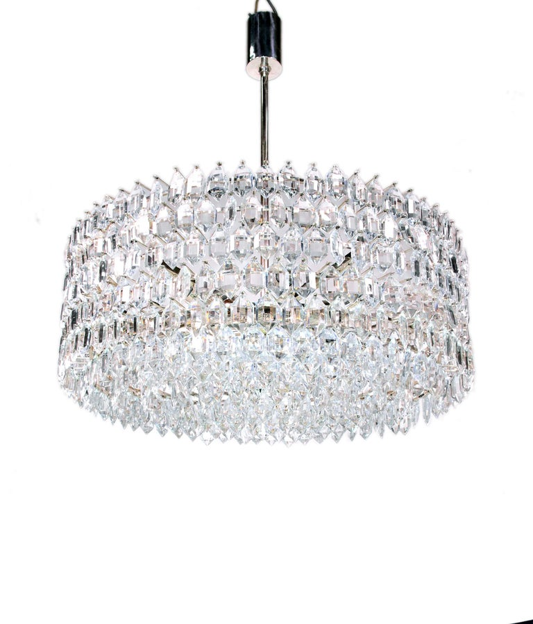 1950s Vienna Bakalowits & Sons Chandelier Crystal on Silver For Sale 6