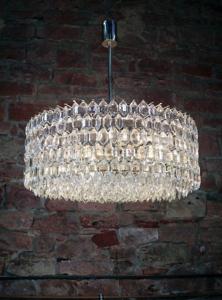 Mid-20th Century 1950s Vienna Bakalowits & Sons Chandelier Crystal on Silver For Sale