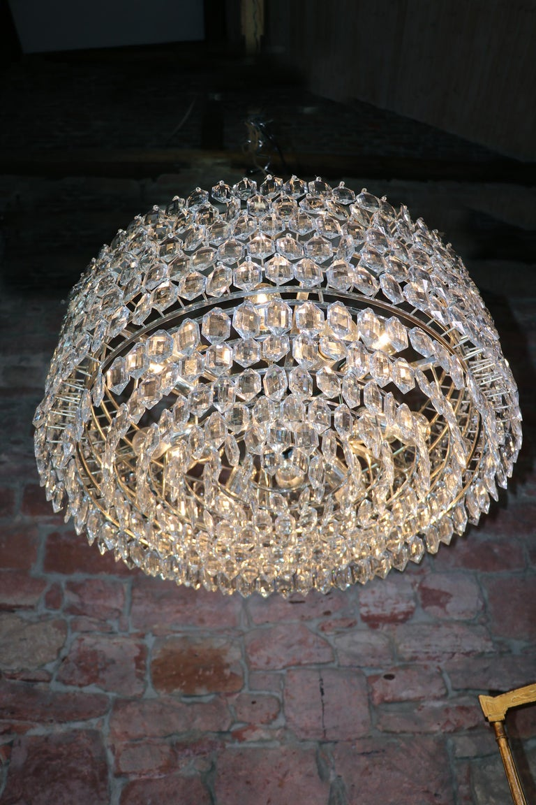 1950s Vienna Bakalowits & Sons Chandelier Crystal on Silver For Sale 1