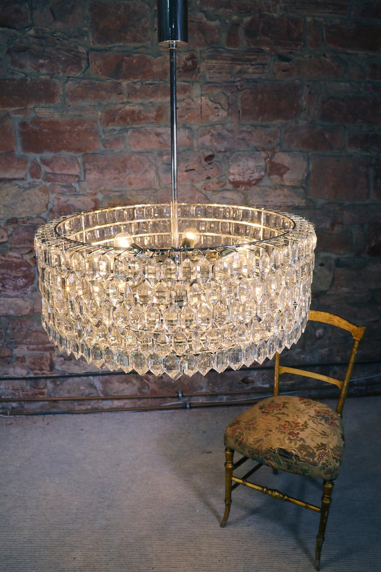 1950s Vienna Bakalowits & Sons Chandelier Crystal on Silver For Sale 2