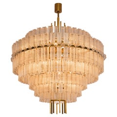 Very Large Chandelier in Brass and Structured Glass Elements