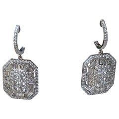 Very Large 7 Carat Baguette and Round Diamond 18 Karat White Gold Party Earrings