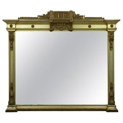 Very Large Aesthetic Movement Over-Mantel Mirror in Silvered Giltwood