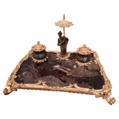 Very Large and Fine 19th Century Chinoiserie and Gilt Bronze Inkwell