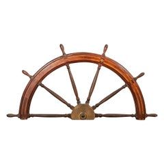 Very Large and Fine Antique Williamson Bros. Inlaid Half Ship's Wheel