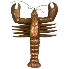 Very Large and Rare Sergio Bustamante Brass and Copper Hanging Lobster