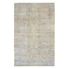 Very Large Antique Amritsar Rug in Taupe, Blue, Gray and Ivory