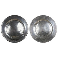 Very Large Antique Brightly Polished Pewter Chargers, English, 17th Century