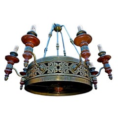 very large  antique chandelier from bank