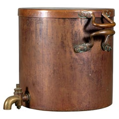 Very Large Antique Copper Lidded Dispenser with Brass Spigot