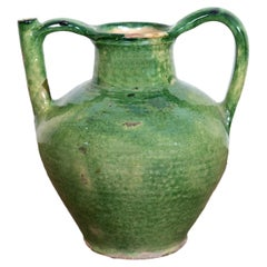 Very Large Antique French Cruche Orjol or Water Jug with Rare Green Glaze