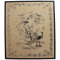 Very Large Antique Monochrome Chinese Hand Embroidery in Black Frame