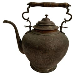Very Large Antique Patinated Copper on Metal Tea Kettle