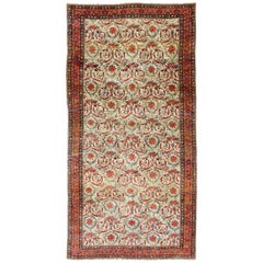 Very Large Antique Persian Bidjar Carpet in Ivory Background and Multi-Colors