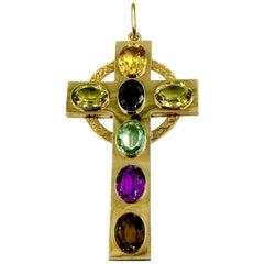 Very Large Antique Scottish 14 Karat Gold and Gemstone Snake Motif Celtic Cross