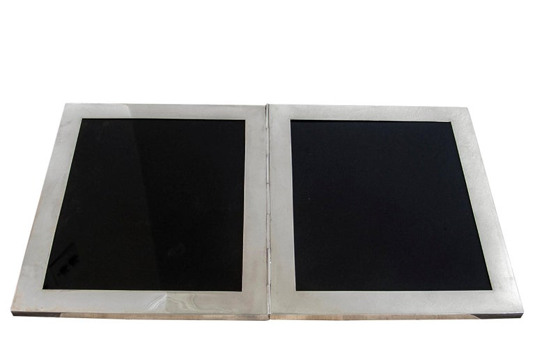 Edwardian Very Large Antique Sterling Silver Double Photograph Frame For Sale