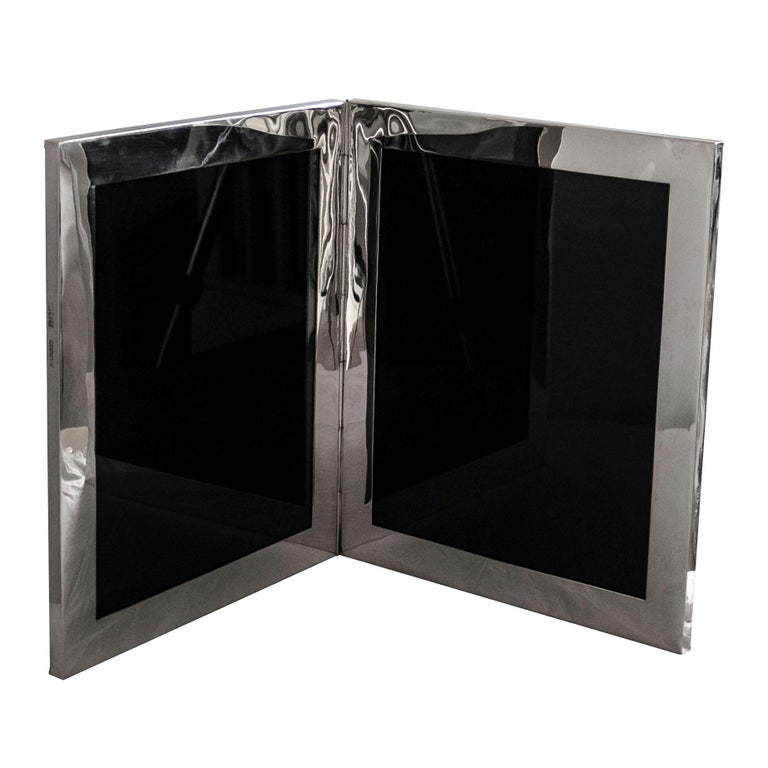 Very Large Antique Sterling Silver Double Photograph Frame For Sale