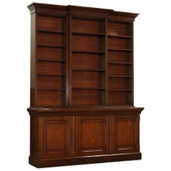 Very Large Antique Victorian circa 1860 English Pine Library Breakfront Bookcase
