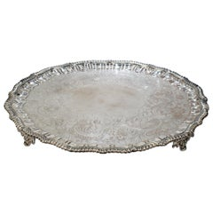 Very Large Antique Victorian Period Sheffield Silver Plate Salver or Round Tray