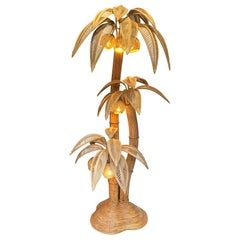 Very Large Bamboo and Rattan Palm Tree Floor Lamp with Seven Coconut Lights
