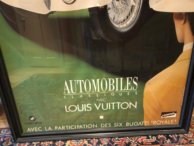 Very Large Bold and Glamorous Art Deco Louis Vuitton and Bugatti Poster For Sale 4
