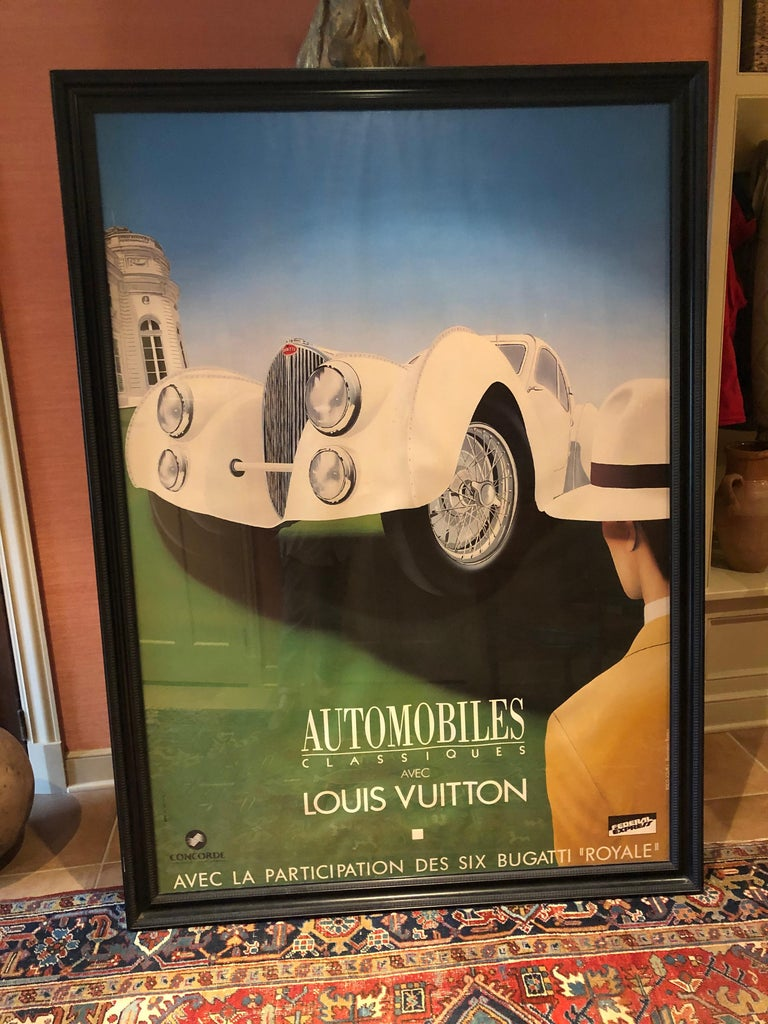 Very Large Bold and Glamorous Art Deco Louis Vuitton and Bugatti Poster For Sale 7