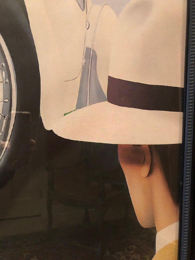 Paper Very Large Bold and Glamorous Art Deco Louis Vuitton and Bugatti Poster For Sale