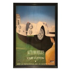 Very Large Bold and Glamorous Art Deco Louis Vuitton and Bugatti Poster