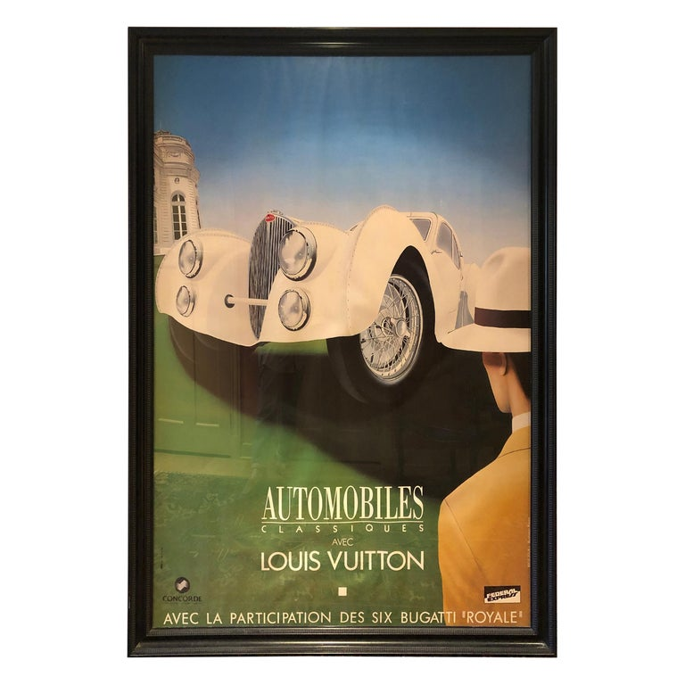 Very Large Bold and Glamorous Art Deco Louis Vuitton and Bugatti Poster For Sale