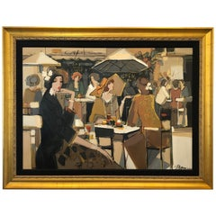 Very Large Bold Original French Cafe Scene by Isaac Maimon