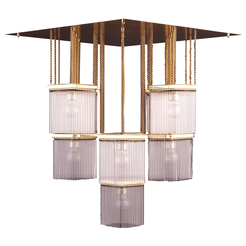 Large Brass and Crystal Glass Secession style, Jugendstil Chandelier Re-Edition