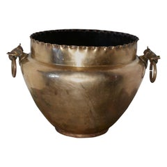 Very Large Brass Jardinière with Elephant Ring Handles