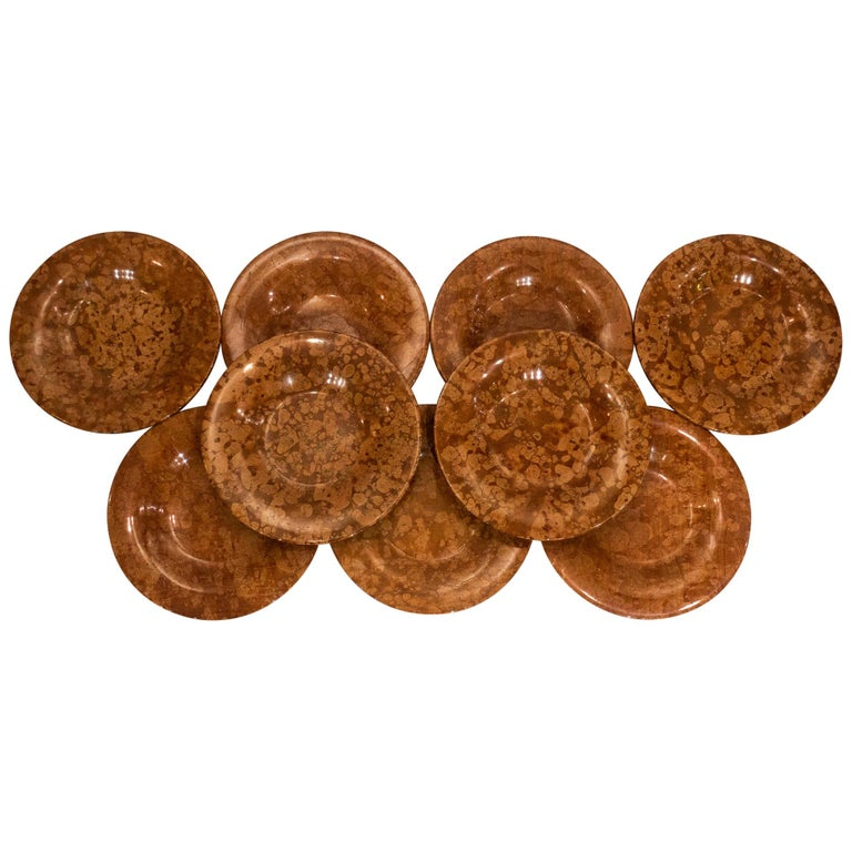 Very Large Carved Orange and Red Variegated Marble Chargers or Plates For Sale