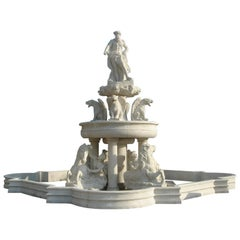 Very Large Carved White Marble Classical Style Garden Fountain