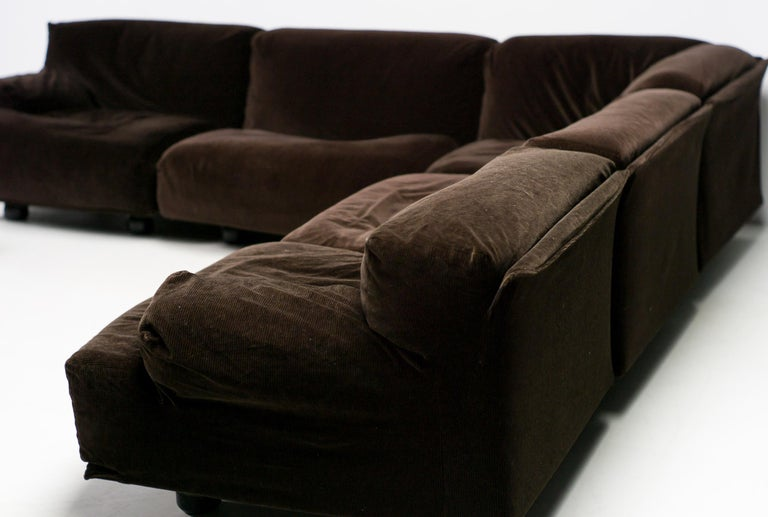 Fiandra sectional sofa designed by Vico Magistretti in 1975 and produced by Cassina, Italy.  The sofa is very comfortable and consists of seven elements that can be used in many different configurations.  In the configuration shown the dimensions