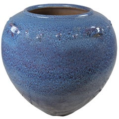 Very Large Ceramic Jardiniere Planter with Blue Glaze