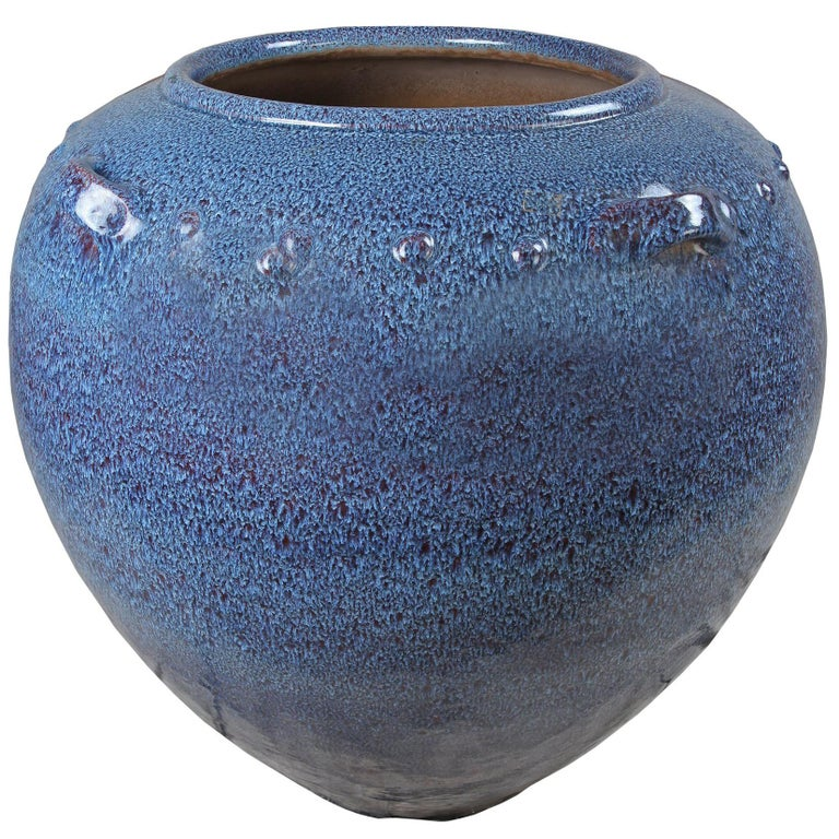 Very Large Ceramic Jardiniere Planter with Blue Glaze For Sale