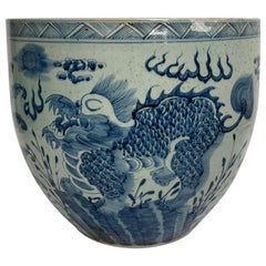 Very Large Chinese Blue and White Fish Bowl
