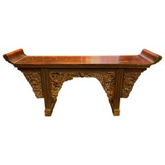 Very Large Chinese Carved and Painted Wood Console