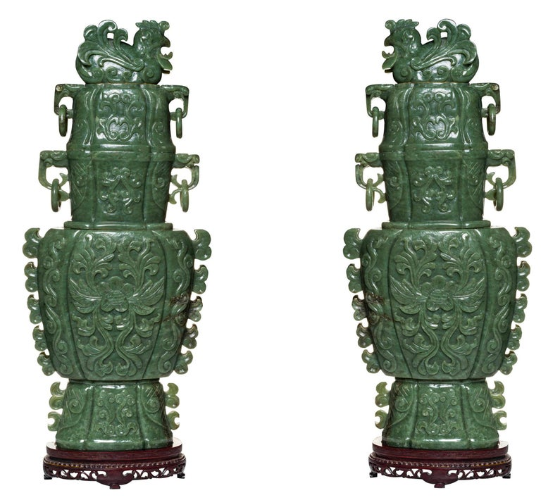 19th Century Very Large Chinese Carved Jade Vases and Covers For Sale