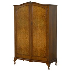Very Large circa 1930s Figured Walnut Double Wardrobe Part of Bedroom Suite